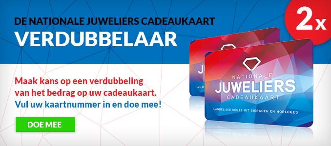 De JewelCard verdubbelaar - Maak kans op een verdubbeling van het bedrag op uw cadeaukaart. Vul uw kaartnummer in en doe mee!